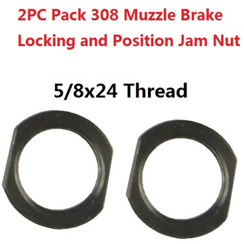 FieldSport® 5/8x24 Thread Crush Washer Replacement Jam Nut For Muzzle Brake Locking and Position Adjustement, All Steel, Black Steel, 2PC Pack