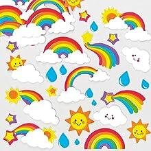 Baker Ross Coloridas pegatinas de espuma en forma de arcoíris que los niños pueden usar para decorar tarjetas, manualidades y collages (pack de 12).