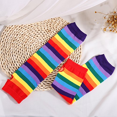 LUOEM Rainbow Tutu Skirt Suit Cosplay Costume with Headband Arm Warmer Leg Stocking Ruffle Tiered Tutus Dress For Kids Girls Carnival Party by LUOEM (Image #5)