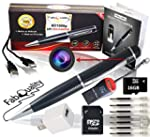 Premium Full 1080p HD Hidden Camera Spy Pen BUNDLE 16GB SD Micro Card + USB card Reader + 7 INK FILLS + updated battery + USB Plug! Record Executive Multifunction DVR Perfect Gift – Easy to Use