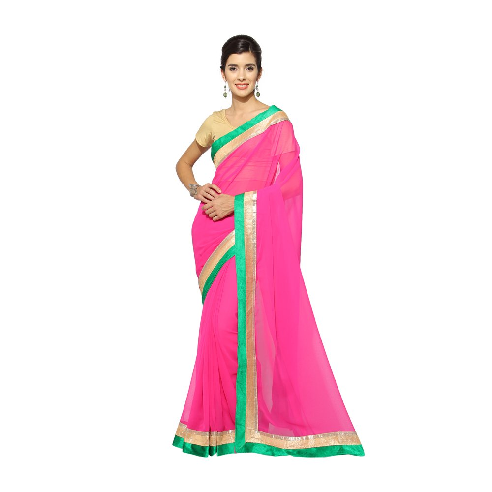 Florence Women's Pink Georgette Embroidered Saree Printed