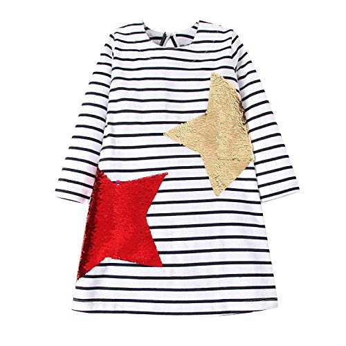 Little Girls Dress Casual Cotton Kids Unicorn Appliques Striped Jersey Dress 2-7 Years (5T, Sequin Stars -