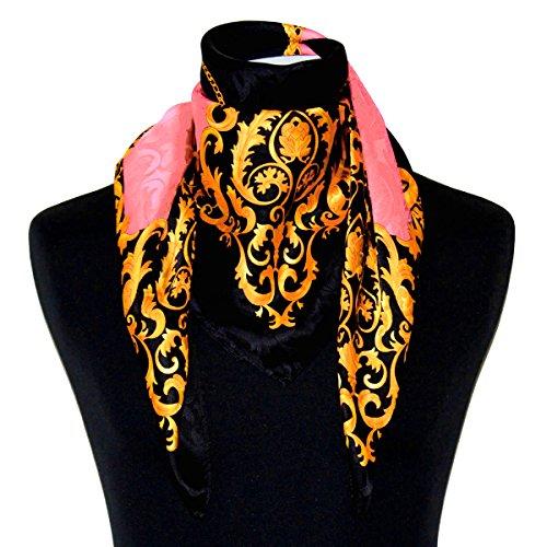 LORENZO cANA chiffon seidentuch de damas - 100%  soie 88 x 88 cm, rose seidenschal 89128