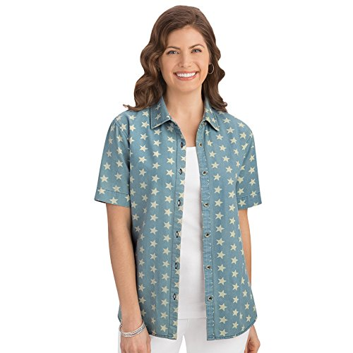 Collections Women's Star Print Button Down Shirt, Chambray, X-Large