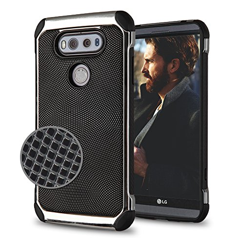 LG V20 Case, Texture Plate Hybrid, Heavy Duty Polycarbonate and Silicone TPU Hard Cover - Black (Case Mirage Plain)