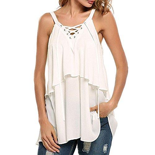 Dainzuy Tank Tops for Women Long Length Bandage Sleeveless Vest Blouse Tshirts Adjustable Strappy Tank Tops White]()