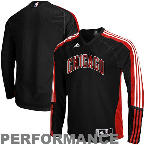 Adidas Chicago Bulls On-Court Long Sleeve Shooting Shirt Small Court Shooting Long Sleeve
