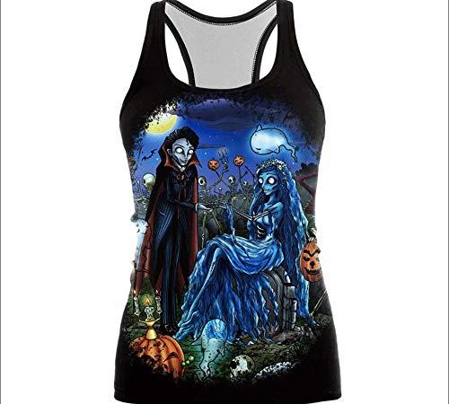 Womens Printed Halloween Sleeveless Tshirt The Nightmare Before Christmas Cos Shirt Jack SkellingtonAnd Sally Slim Design Fashion Tops -