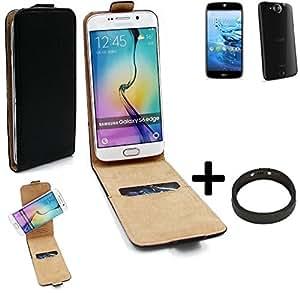 TOP SET: Caso Smartphone para ACER Liquid Jade Plus cubierta del estilo del tirón 360°, negro + anillo protector, cubierta del tirón - K-S-Trade (TM)