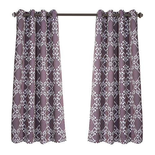 "MYSKY HOME Purple Curtains for Girls Room Moroccan Floral Printed Thermal Insulated Grommet Top Blackout Curtains for Bedroom, 52"" W x 63"" L, Set of 2 Panels"