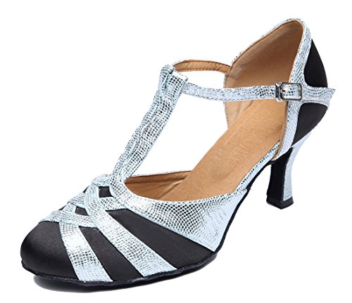 Satin Womens Shoes Black Closed Glitter Modern Toe Fashion T Silver TDA strap Latin Wedding Dance Ballroom 0qw1xFq