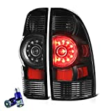 VIPMOTOZ Black Housing OE-Style LED Tail Light Lamp Assembly For 2005-2015 Toyota Tacoma Pickup Truck - CREE LED Backup Bulbs Included, Driver & Passenger Side