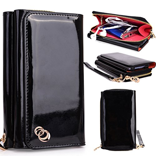 NuVur Perfect Universal Patent Faux Leather Smartphone Wallet Clutch Fits HP Slate S7-4200US|Patent Black