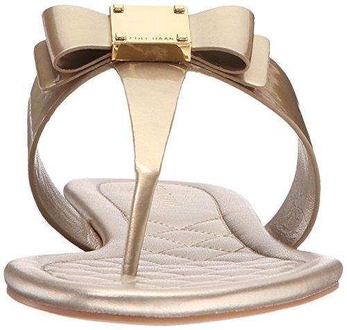 Cole Haan Womens Tali Boog Plat Sandaal Zacht Goud Patent