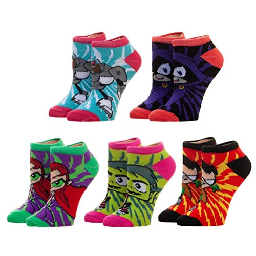 Teen Titans Colorful Character Ankle Pedi Socks 5 Pairs Adult Size Sock -