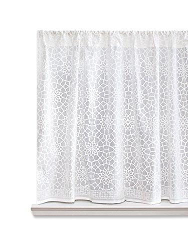 Saffron Marigold – Royal Mansour – Handprint Cafe Kitchen Curtains - Moroccan Trellis Curtains – White Lattice Curtains (46 x 36 - Opulence Window
