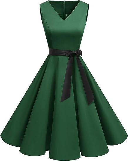 TALLA XXL. Bridesmay Vestido de Cóctel Fiesta Mujer Verano Años 50 Vintage Rockabilly Sin Mangas Pin Up Verde XXL