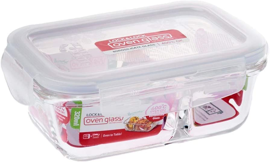 LOCK & LOCK Purely Better Glass Food Storage Container with Lid, Rectangle w/divider-32 oz, Clear