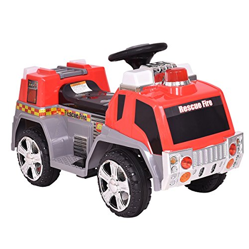 Costzon Kids Ride On Fire Truck 6V Battery Powered Fire Engine w/Lights & -