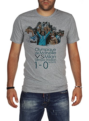 fan products of Palalula Men's Champions League Final 1993 Olympique Marseille vs AC Milan T-Shirt L Grey