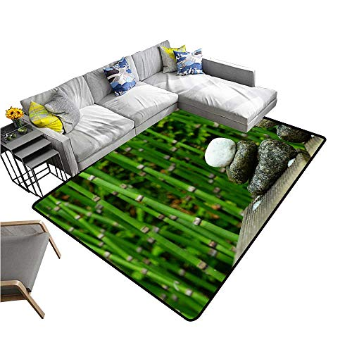 - Natural Fiber Area Rug A Cobblestone Beside a Bamboo Forest Suitable for Bedroom Home Decor 5' X 8'