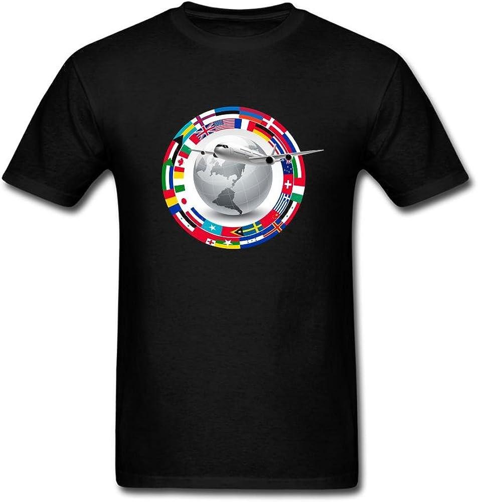 Heerinsy Men's Travel Globe Flags Color Short Sleeve T-Shirt S