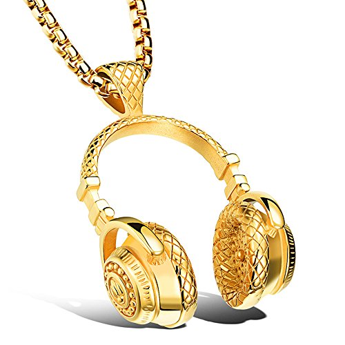 Apopo Headphone Pendant DJ Gold Music Necklace with 23' Chain - Gold by Apopo