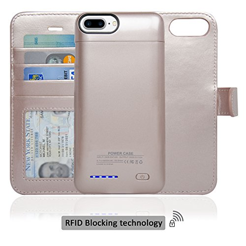 Navor RFID Folio Wallet Magnetic Detachable Power Battery Case 4200mAh for iPhone 7 Plus / 6 Plus / 8 Plus [5.5 Inch] - Rose Gold