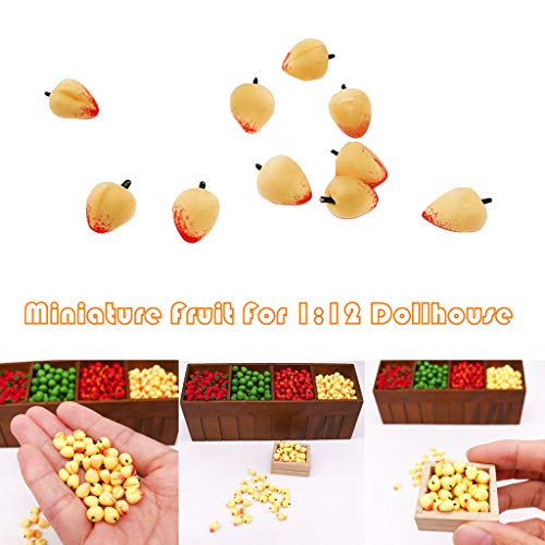 - Maikouhai 10Pcs 0.8cm Plastic Miniature Peach, 1:12 Dollhouse Fruit Yellow Peach Kitchen Dining Model Kids Pretend Play Toy Gifts Doll House Decor