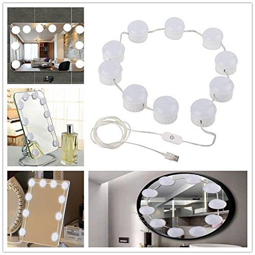Ocamo 10LED Touch Colorful Mirror Light USB Simple Modern Mirror Light USB Chargeable Light for Makeup 5V by Ocamo