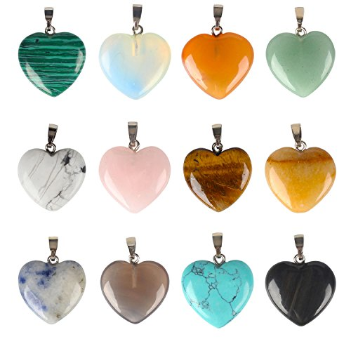 Wholesale 12 PCS Natural Stone Heart Shape Pendant Healing Chakra Charms Bulk for Jewelry Making