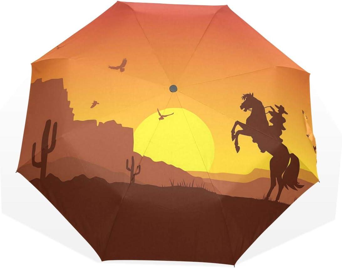 LASINSU Paraguas Resistente a la Intemperie,protección UV,Paraguas Ligero,Desierto del Oeste Salvaje Americano con Vaquero a Caballo Puesta de Sol Cactus Tierras áridas,Plegable