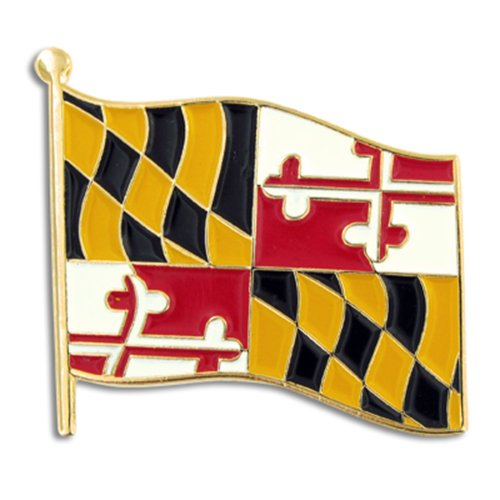 PinMart's Maryland US State Flag MD Enamel Lapel Pin 1""