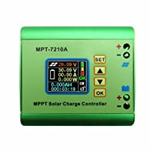 RioRand MPPT solar controller street home charging system to adapt to 24/36/48/60 / 72V battery 10A Solar Panel Regulator Charge Controller with Digital Display and User Adjustable Settings