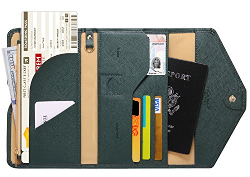 Zoppen Mulit-purpose Rfid Blocking Travel Passport Wallet (Ver.4) Trifold Document Organizer Holder, 16 Dark Olives