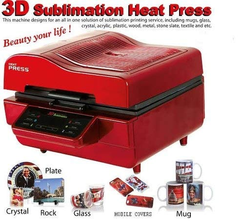 TIRUPATI ENTERPRISE Metal 3D Sublimation Printing , Heat Press Transfer Machine for Coffee Mug Cap Phone T-Shirt (Red)