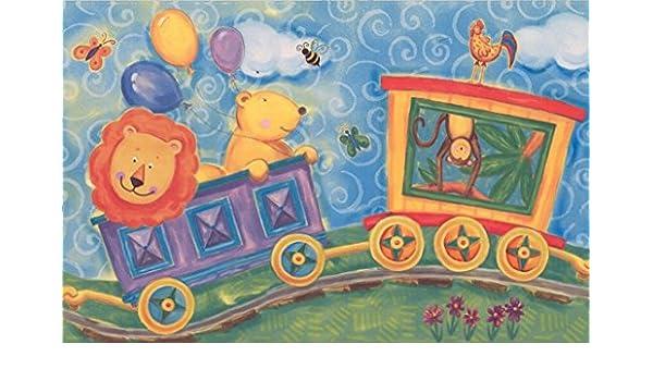 Roll 15 x 6 Cartoon Lion Cat Dog Pig Bear Monkey Hippo on Train Kids Wallpaper Border Modern Design