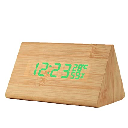 LQley Relojes Alarma Digitales, Reloj Viaje Madera LED ...