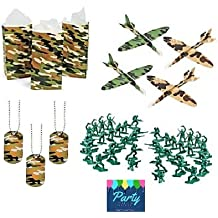 Military Army Party Favors Boys Camouflage Dog Tags Favor Bags Gliders Toy Plastic Soldiers 192 Piece Bundle for 12 Guests