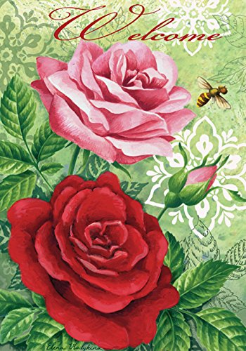 Toland Home Garden Rose Welcome 28 x 40 Inch Decorative Colorful Spring Flower Bee House Flag