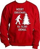 Custom Kingdom Mens Bigfoot Merry Christmas Ya Filthy Animal Ugly Christmas Sweatshirt