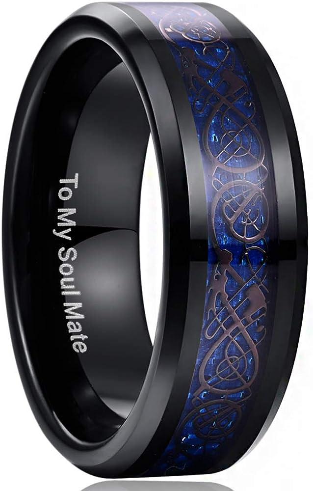 keltische Drachen Vergoldet mit Blauen Kohlefasern Unisex Wolfram Ring 8mm f/ür Hochzeit Nuncad Ring Damen//Herren Blau Alltag und Fashion 12-32 Verlobung Gr/ö/ße 52 bis 72