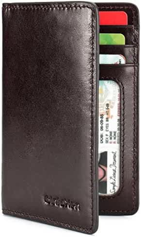 Slim Leather ID/Credit Card Holder Bifold Front Pocket Wallet with RFID Blocking