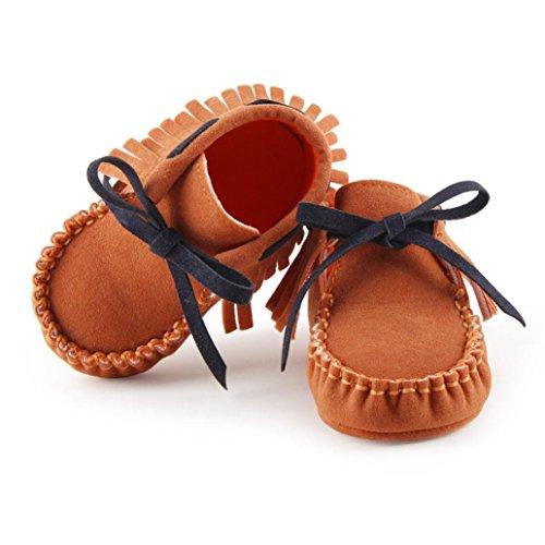 Tefamore zapatos primeros pasos de bebes de antideslizante de sole suave de moda invierno de calentar Marrón