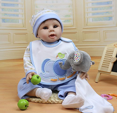22'' Silicone Lifelike Reborn New Baby Boy Alive Realistic Boy Doll Kits Women Treats Nursery Collect Girl Gifts by NPK