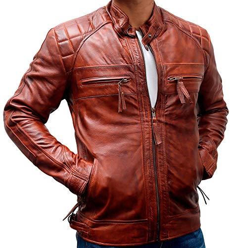 Mens Motorcycle Jacket- Vintage Cafe Racer Retro Biker Leather Jacket for Men (XX-Large, Diamond Stitch Brown Distressed Leather Jacket) (Diamond Cafe Diamond Brown)