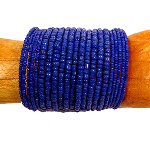 2 1/2 Wide Cobalt Blue Color Handmade Beaded Cuff Bracelet Bali Bay Trading Company