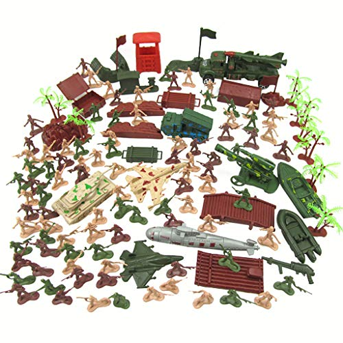 - Binory 130pcs Military Model World Sea Land and Air Force Scenes Sandbox Set,Mini Soldier Action Figure Toys Include Toy Tanks Planes Flags Fences & Accessories(A)