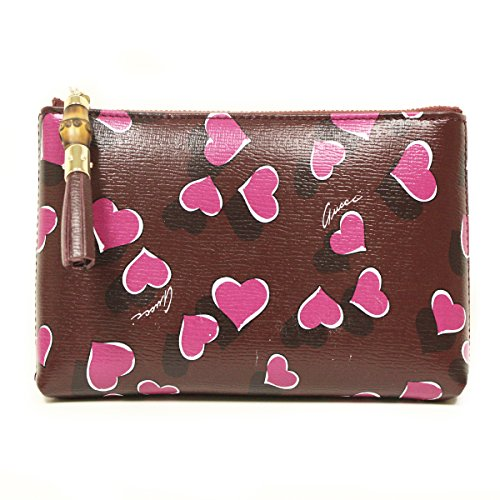 Gucci 338815 Purple Leather Heart Zip Cosmetic Case Pouch by Gucci