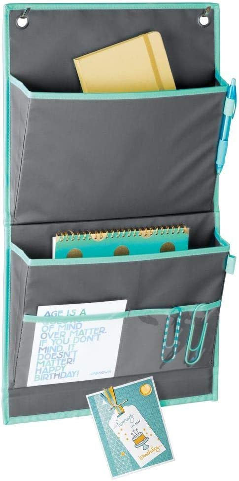 mDesign Soft Fabric Over The Door Hanging Storage Organizer - 4 Pockets in 2 Sizes and Magnetic Strip - Vertical Office Center for Home Office, Work Cubicle - Hooks Included - Gray/Teal Blue